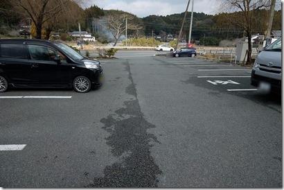 湯亭、上弦の月の家族風呂の駐車場